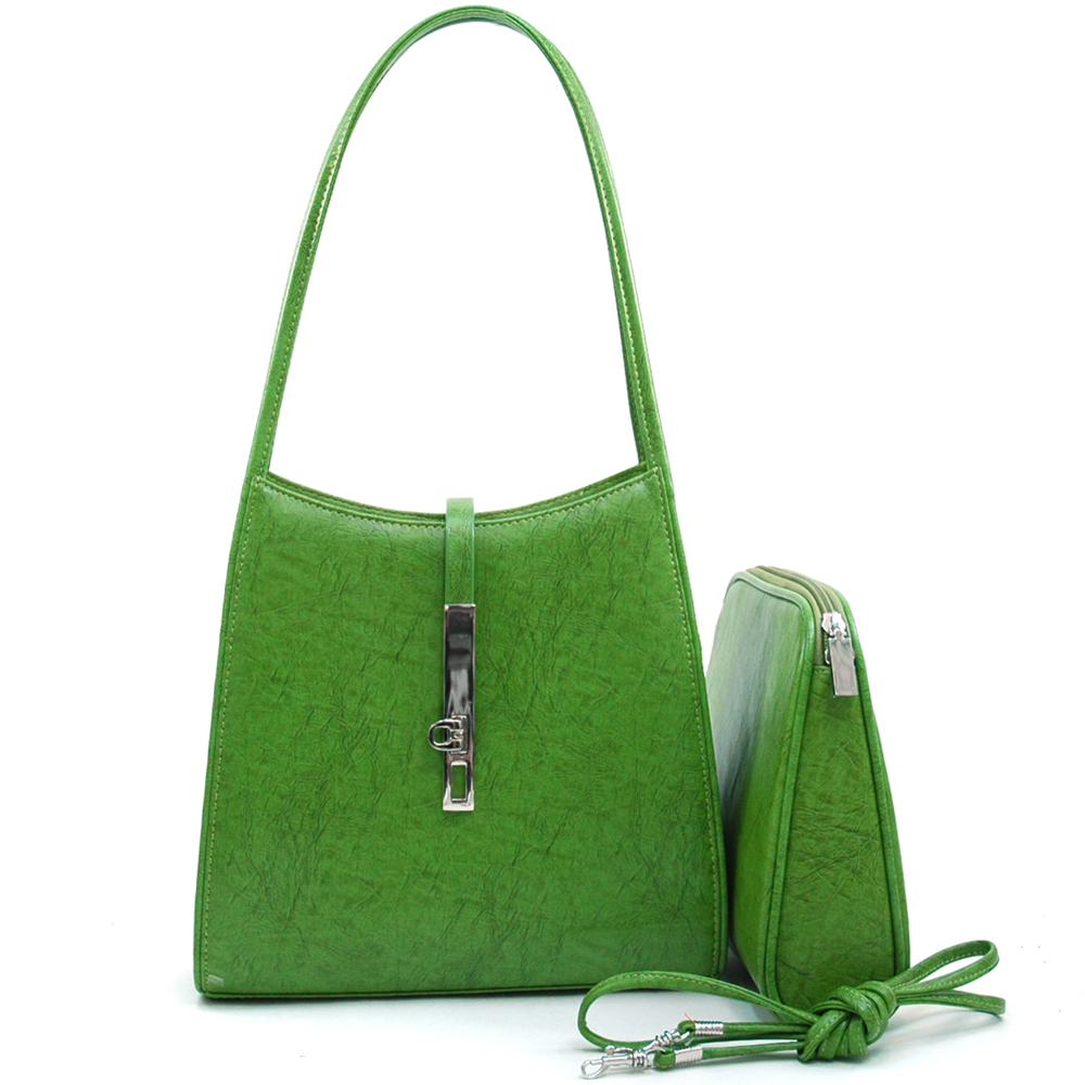 Women's Classic Fine Textured Classic Shoulder Handbag Purse w/ bonus Cosmetic Bag