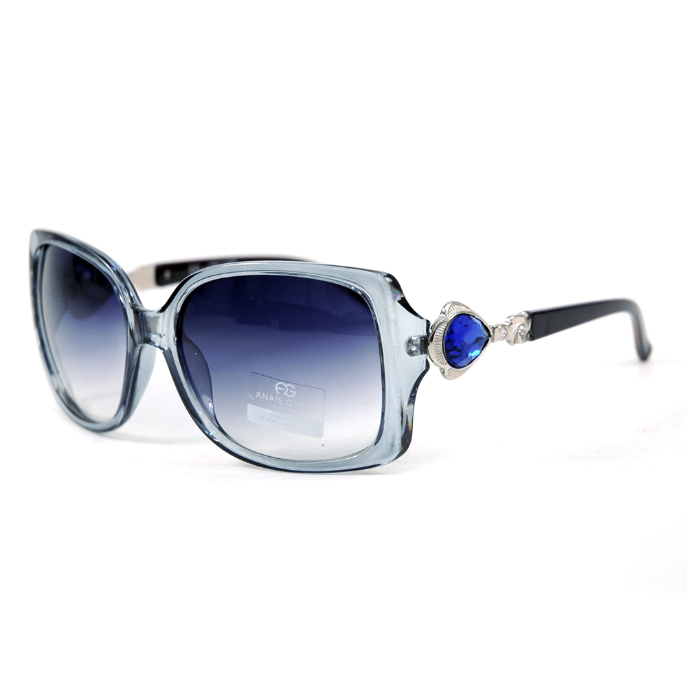 Women's Square Frame Sunglasses w/ Princess Jeweled Accent on Side