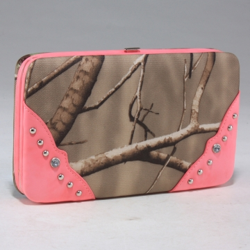 Realtree camouflage frame checkbook wallet with studs accent - Pink