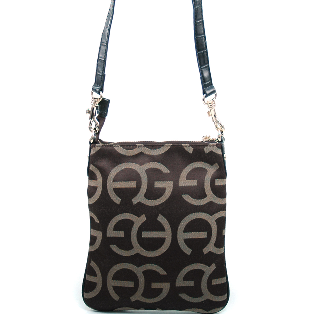 Women's Fashion Monogram Messenger Bag with Gold Accents - Coffee/Black