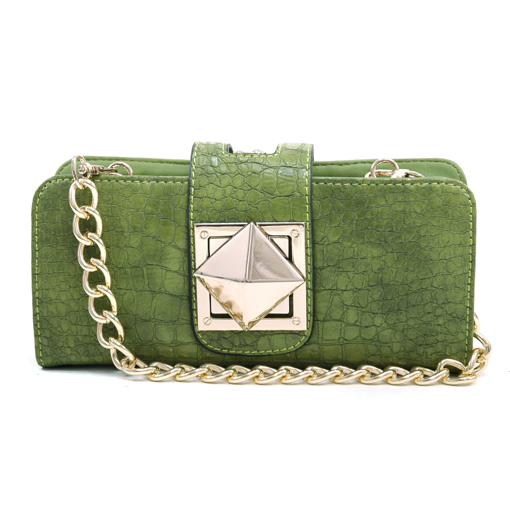 Women's Croco Fashion Clutch w/ Inside Wallet Compartments - Green