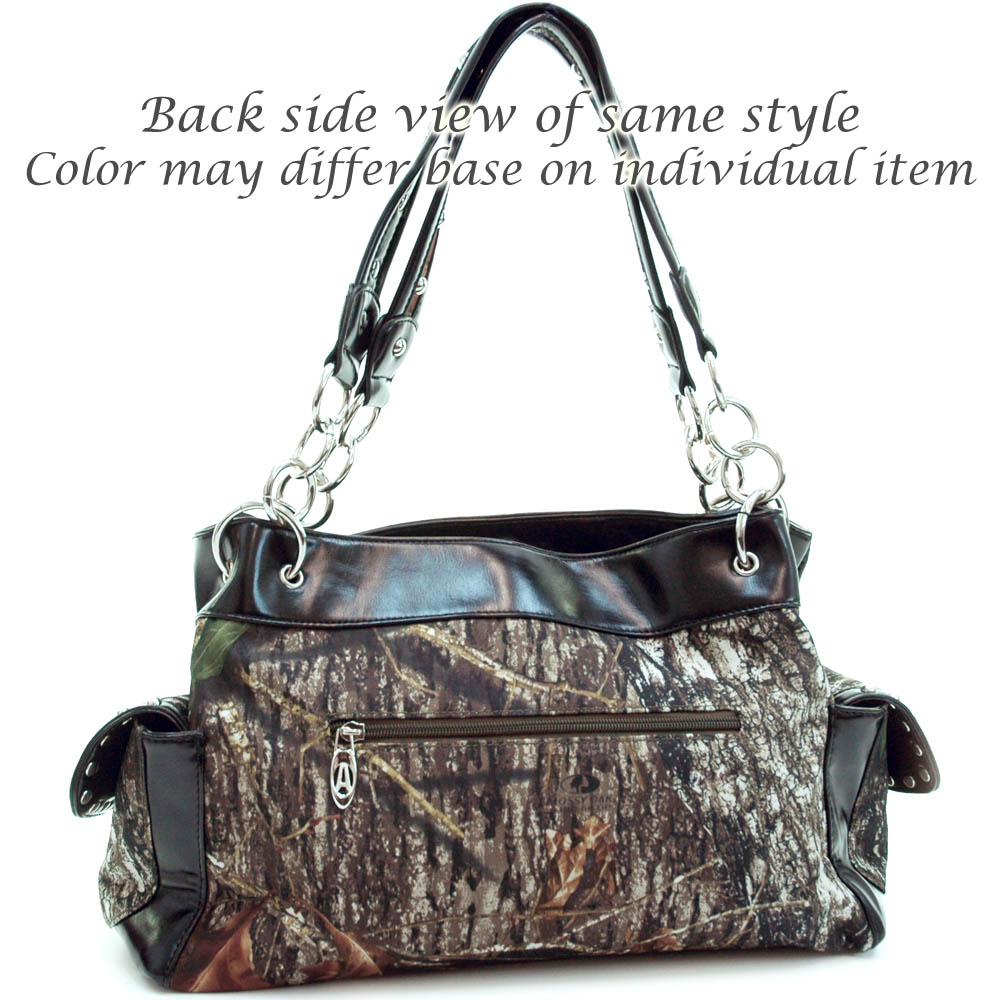 Mossy Oak® Infinity Camo Rhinestone Cross & Leatherette Trim Shoulder Bag