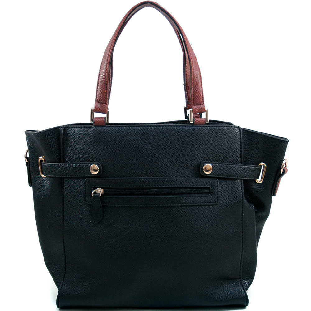 Women's Belted-Front Satchel w/ Bonus Strap - /Brown