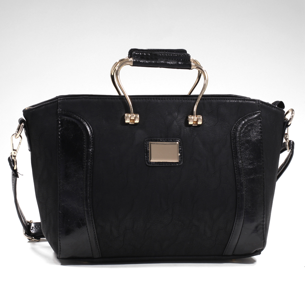 Women's Elegant Fashion Satchel with Gold-Kissed Accents & Bonus Strap - Black