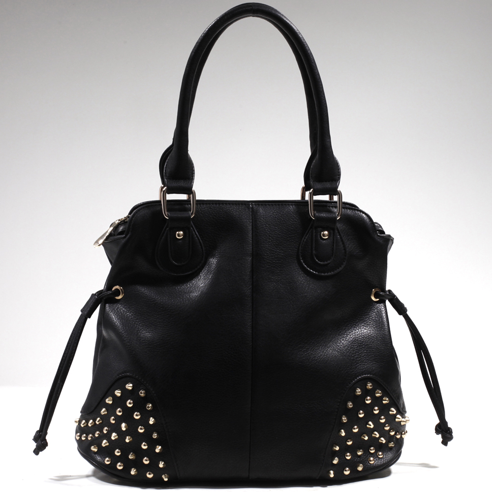 Women's Studded Fashion Shoulder Bag w/ Drawstring Accents