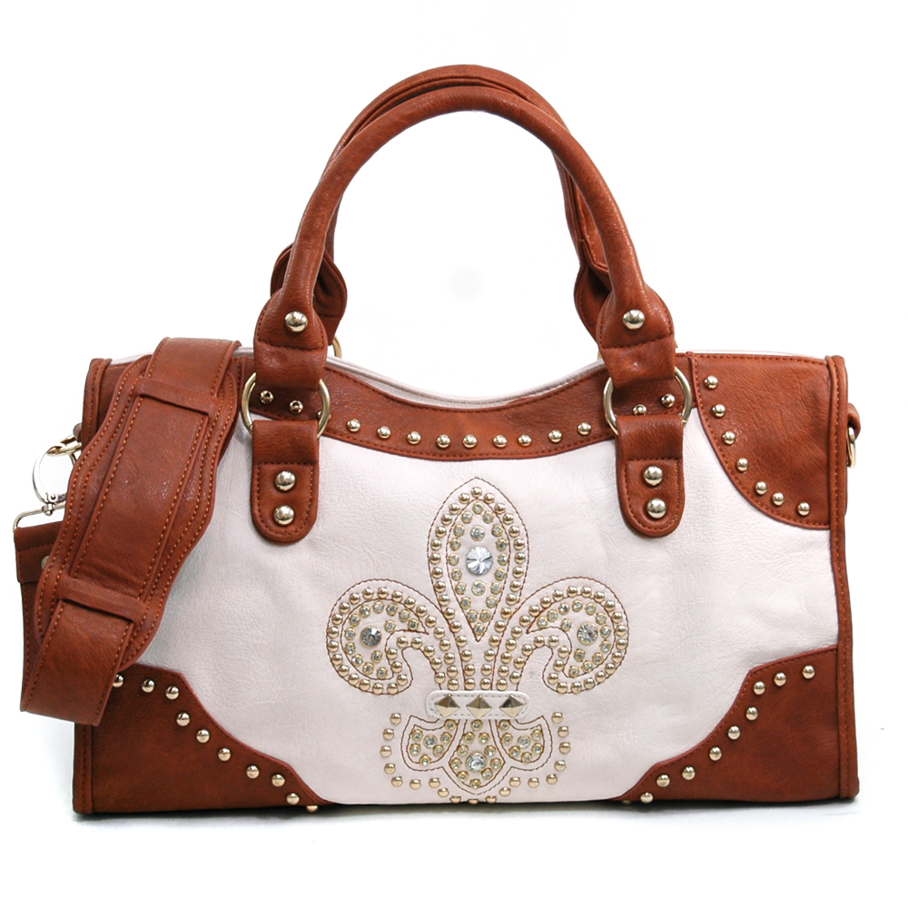 Rhinestone Studded Satchel with Fleur de Lis  - Black