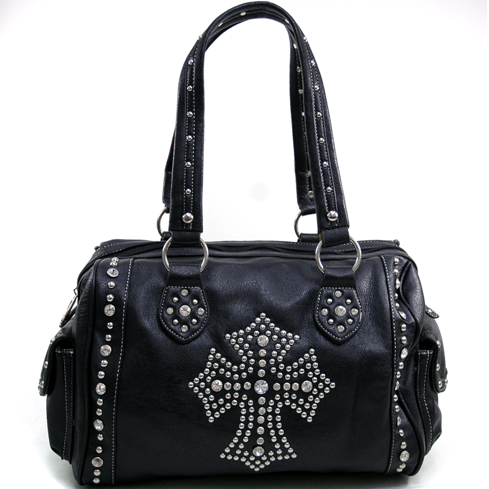 Women's Rhinestone Studded Cross Accented Shoulder Bag with 2 Side Pockets