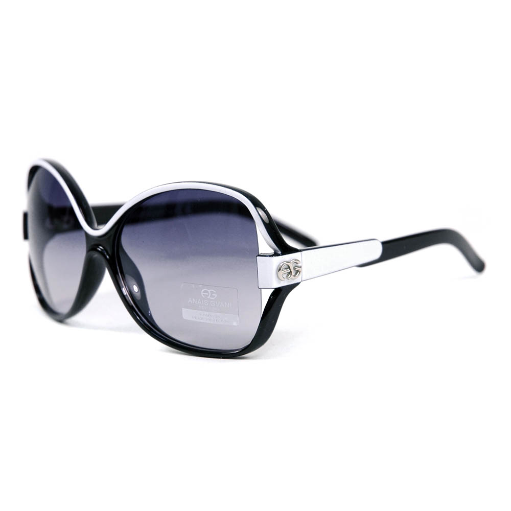 Women's Two-tone Chic Open Temple Fashion Sunglasses - Black/White