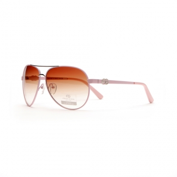 Women's Classic Aviator Sunglasses w/ Logo Accent on Side - Light Pink
