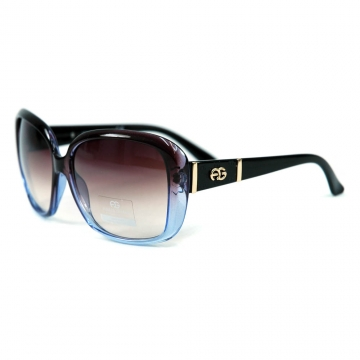 Women's Classic Square Frame Sunglasses w/ Logo Accent - Transparent Purple/Black