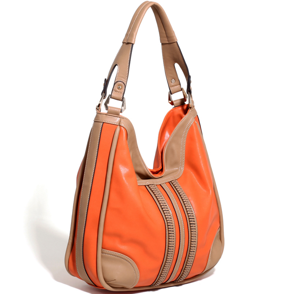 Women's Two-tone Fashion Hobo w/ Center Stripe Design Accents - /Tan
