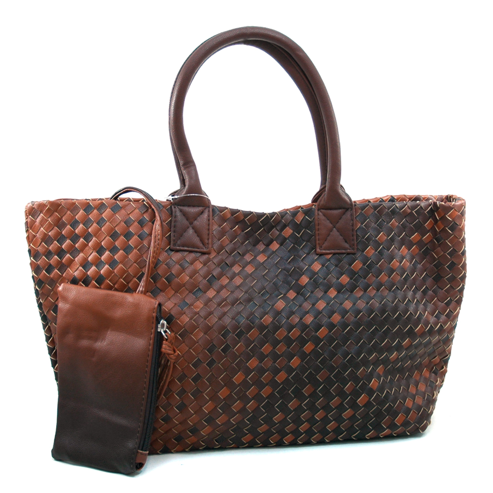 Women's Two-tone Woven Fashion Tote Bag with Bonus Coin Pouch - Brown/Black