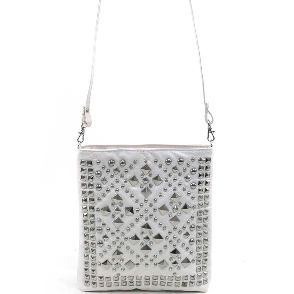 Dasein® Pyramid Studded Messenger Bag