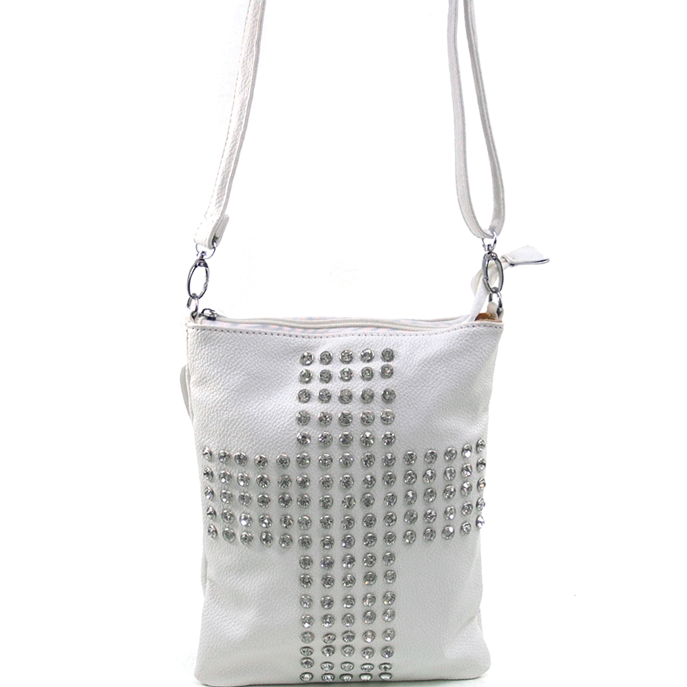 Women's Fashion Rhinestone Embroidered Cross Design Messenger Bag