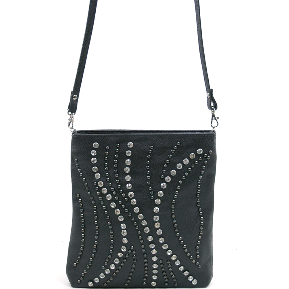 omen's Fashion Messenger Bag  Rhinestone and Stud Accent Design