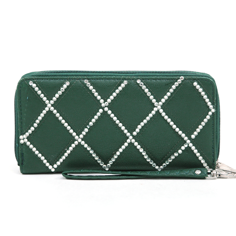 Women's Rhinestone Zip-Around Wallet with Dual Compartments & Wrist Strap - Green