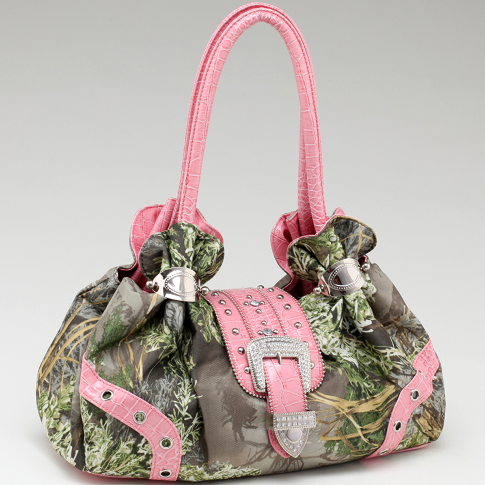 Realtree® MAX1 Camo Rhinestone Buckle Cuffed Shoulder Bag