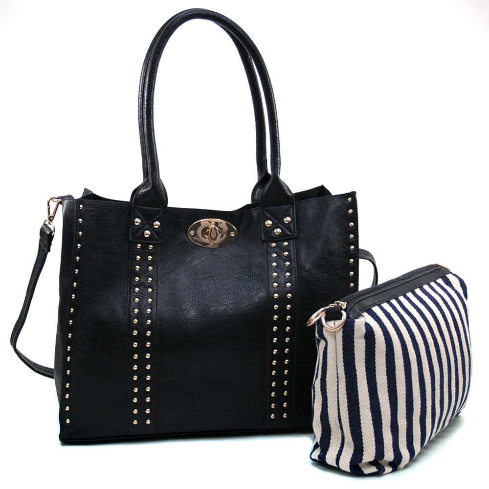 Women's Two-Tone 2-in-1 Tote Bag with Bonus Canvas Cosmetic Bag & Bonus Strap