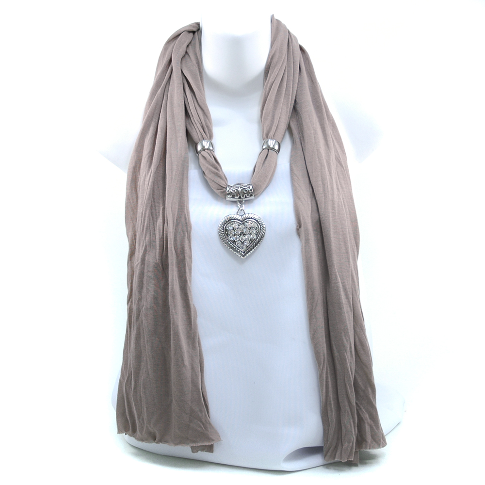 Women's Necklace Style Fashion Scarf w/ Rhinestone Embellished Heart Charm - Taupe Grey