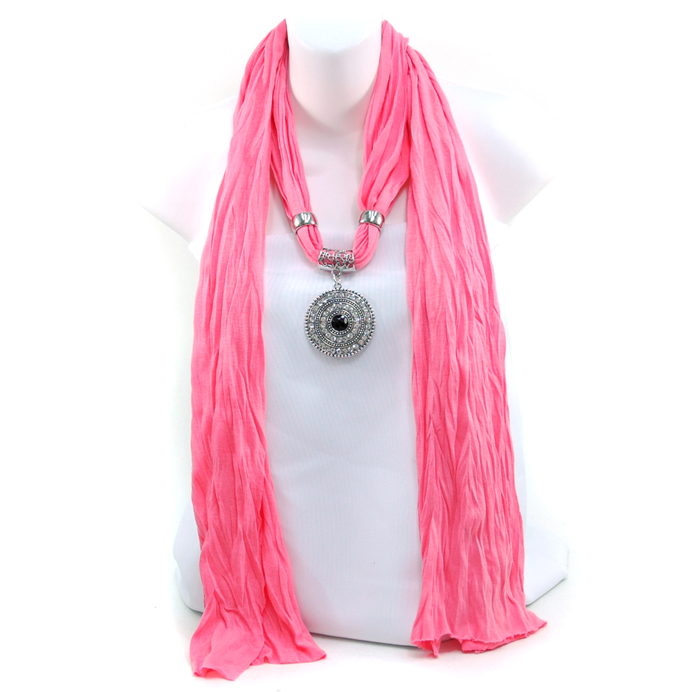 Women's Necklace Style Fashion Scarf w/ Rhinestone Embellished Disc Charm