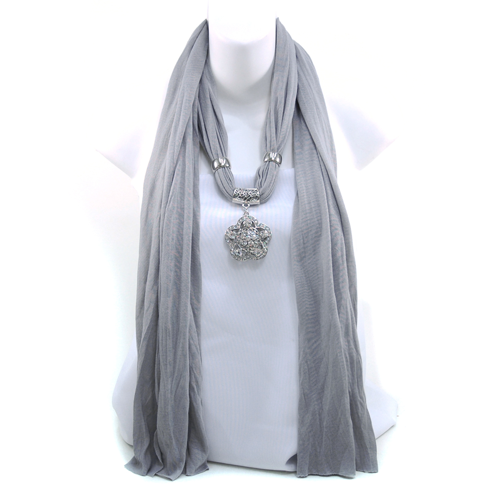 Women's Necklace Style Fashion Scarf w/ Rhinestone Embellished Floral Charm