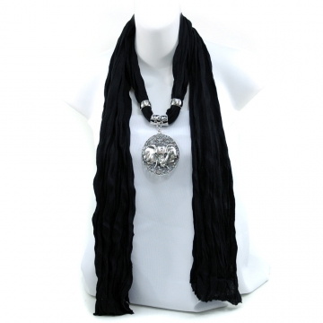 Women's Necklace Style Fashion Scarf w/ Exotic Elephant Rhinestone Charm - Black