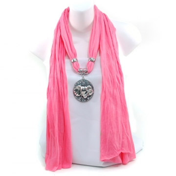 Women's Necklace Style Fashion Scarf w/ Exotic Elephant Rhinestone Charm - Light Pink