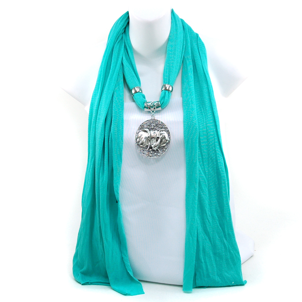 Necklace-Style Fashion Scarf with Exotic Elephant Rhinestone Charm