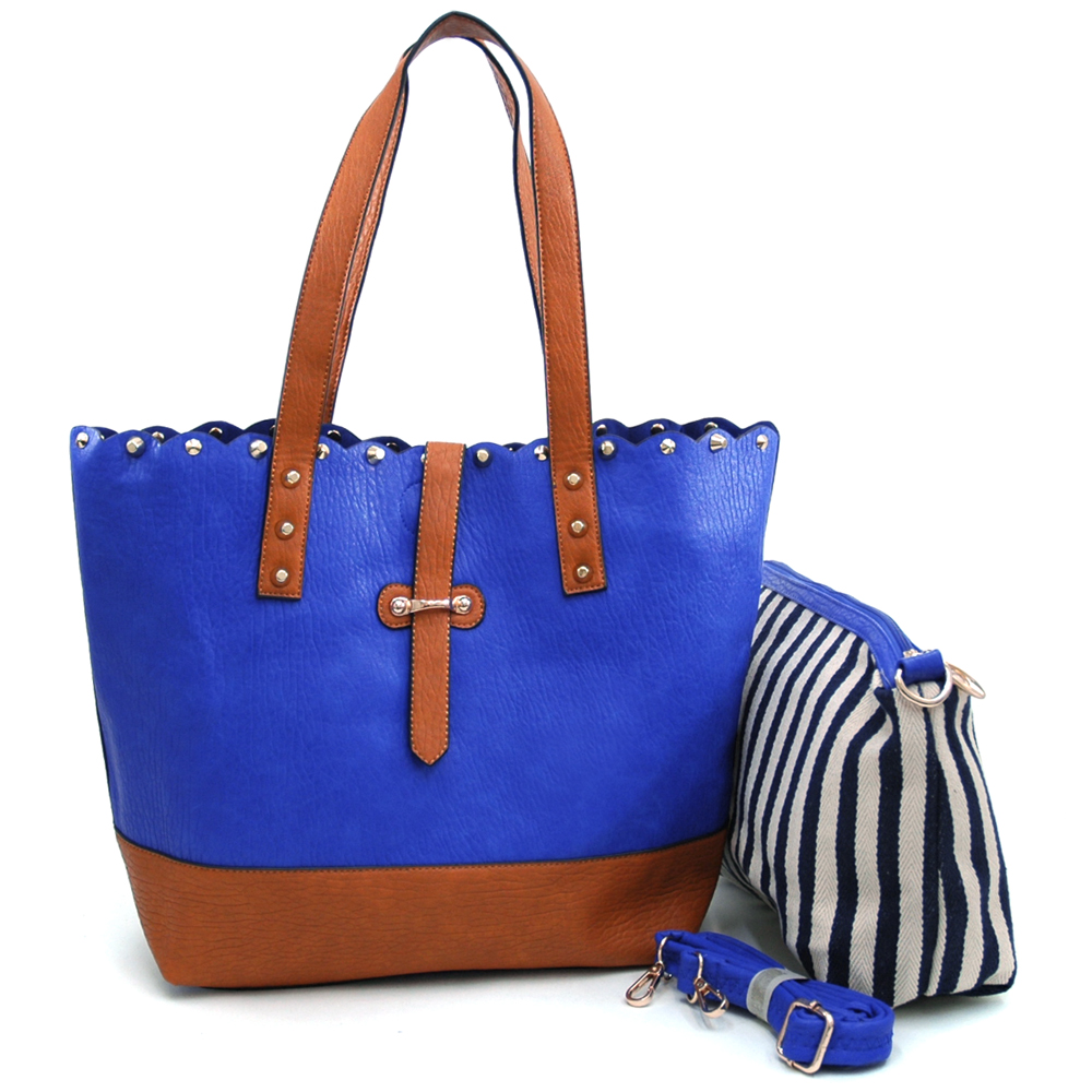 Women's Two-Tone Studded 2-in-1 Tote Bag with Bonus Canvas Cosmetic Bag & Bonus Strap - Blue/Brown
