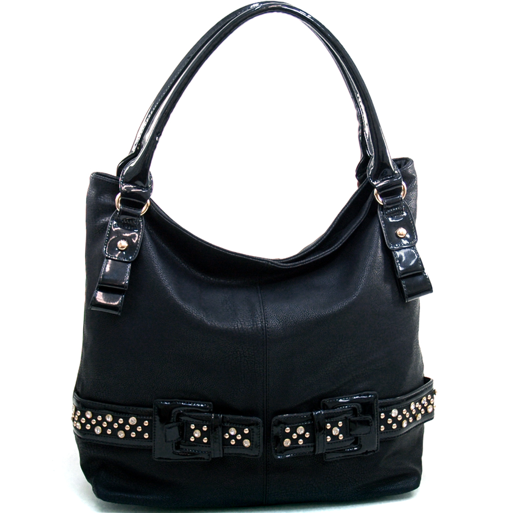 Women's Large Fashion Hobo with Rhinestone Studded Belt Accent