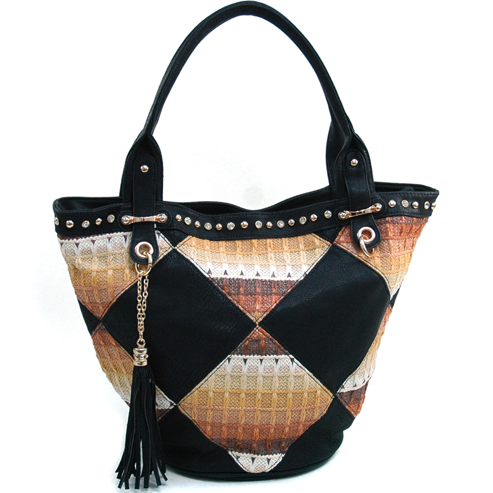 Women's Fashion V-Frame Rhinestone Studded Tote with Faux Straw Stitch Design