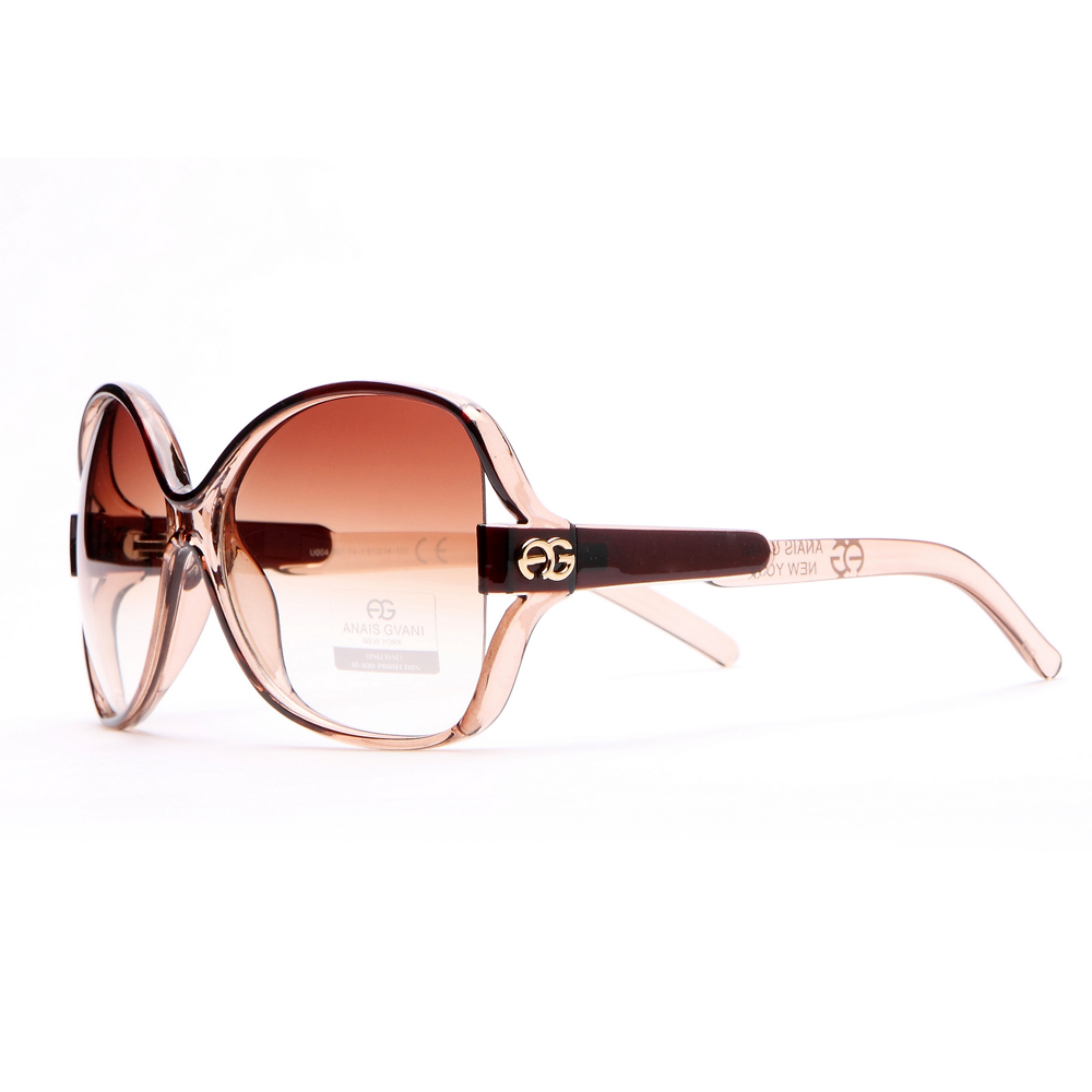 Women's Two-tone Chic Open Temple Fashion Sunglasses - Beige/Coffee