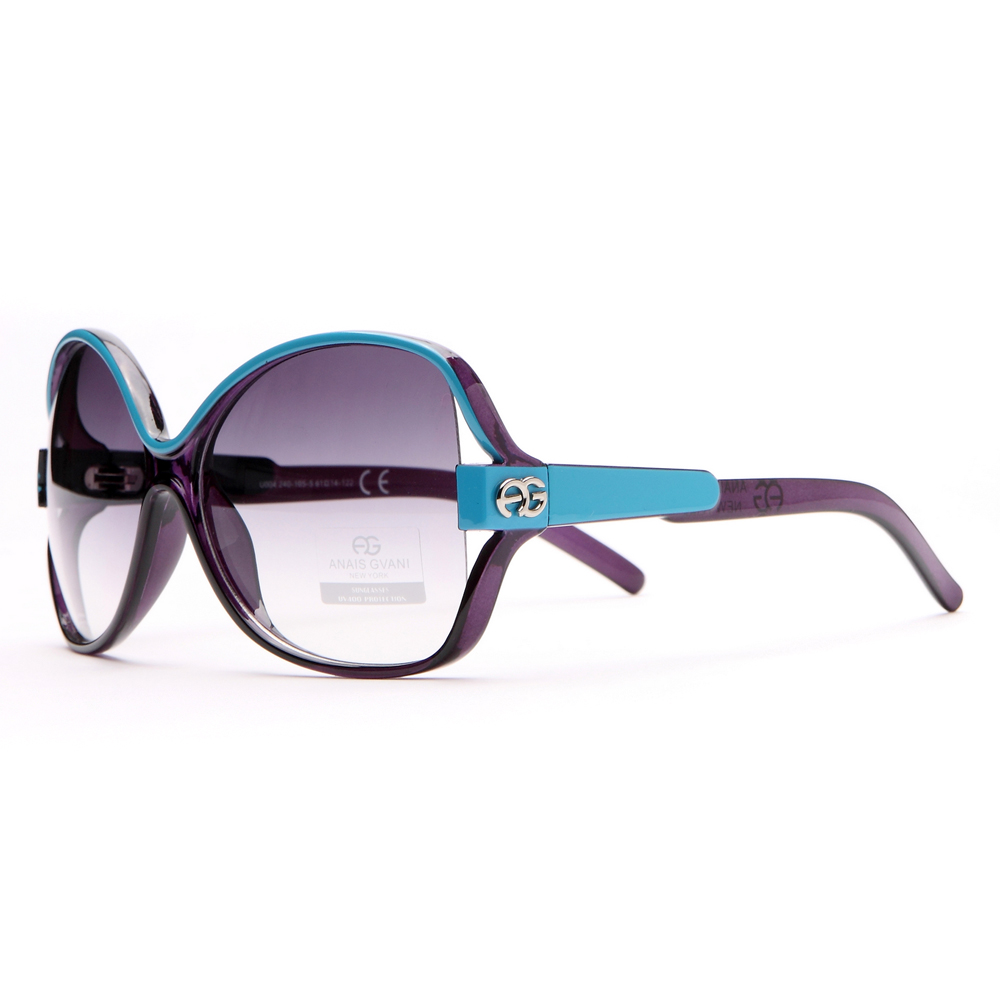 Women's Two-tone Chic Open Temple Fashion Sunglasses - Purple/Turquoise