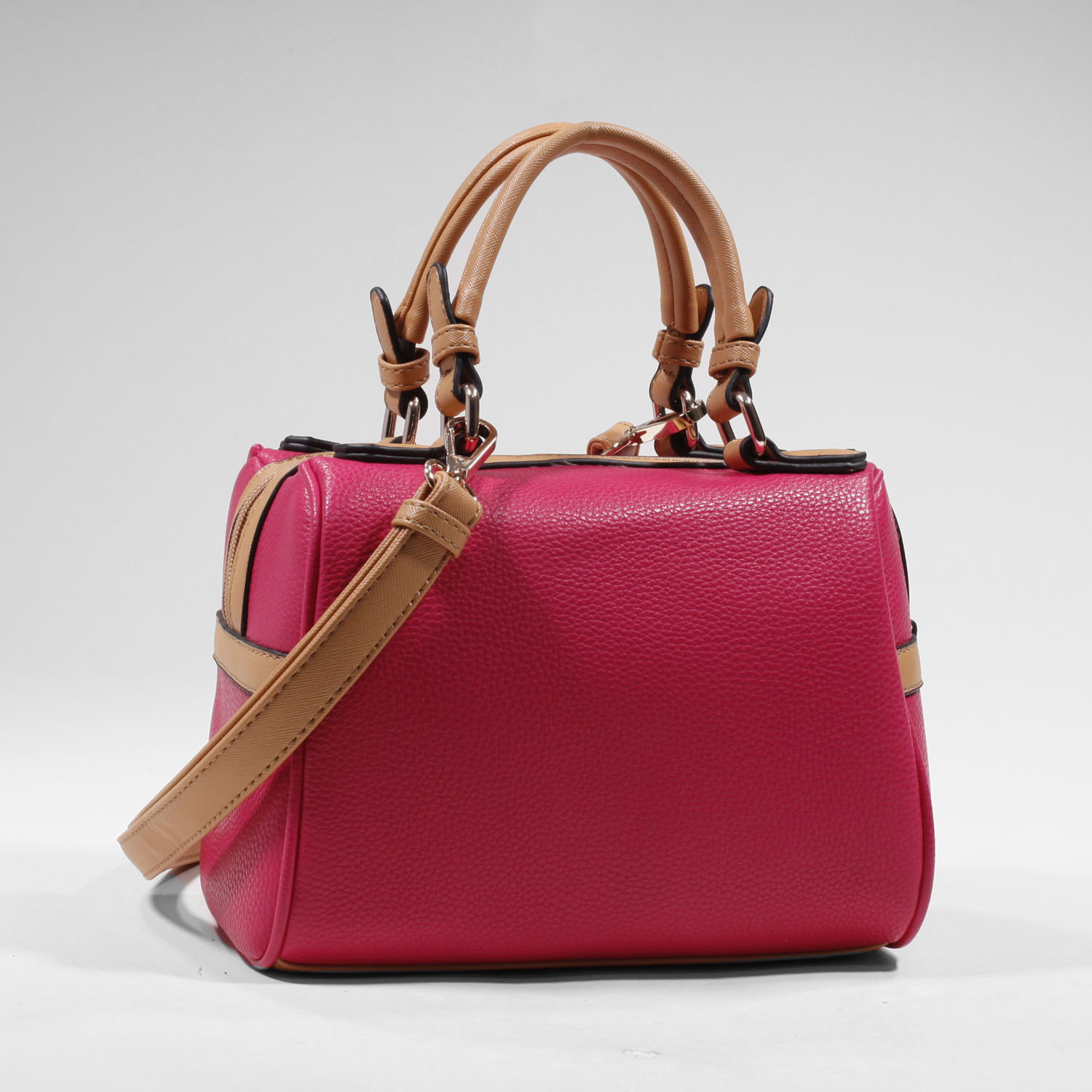 Women's Mini Fashion Satchel with Bonus Strap for Crossbody Wear - Fuchsia