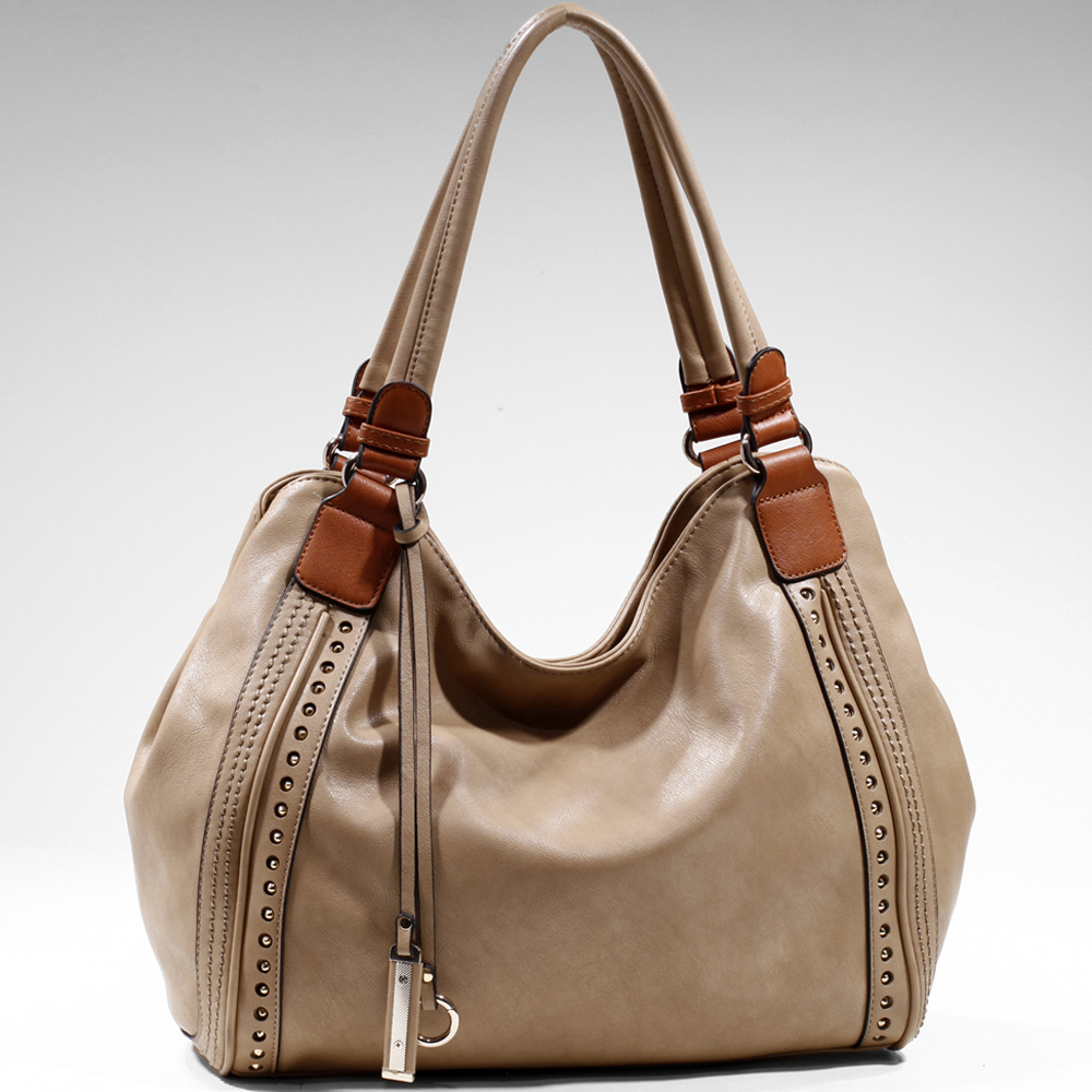 Women's Fashion Hobo w/ Cut Out Design & Pointy Stud Accents - /Brown