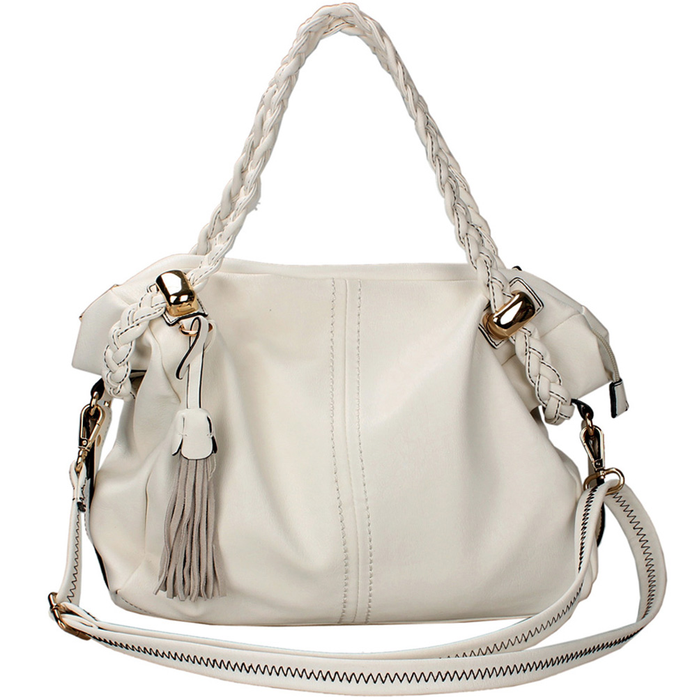 Women's Classic Belted Fashion Satchel with Braided Straps & Tassel Accent - White