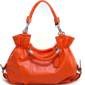Women's Fashion Belted Convertible Shoulder Bag/Satchel w/ Interchangeable Straps - Orange