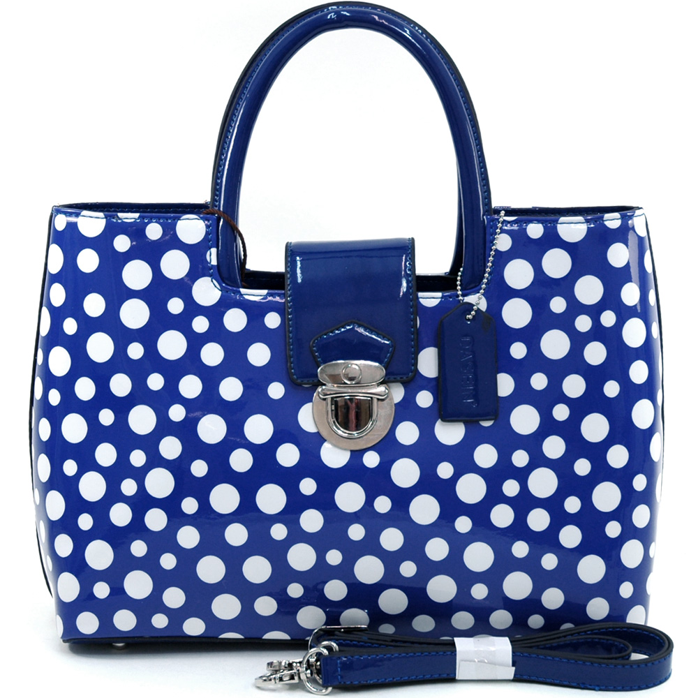 Dasein white/blue polka dot satchel