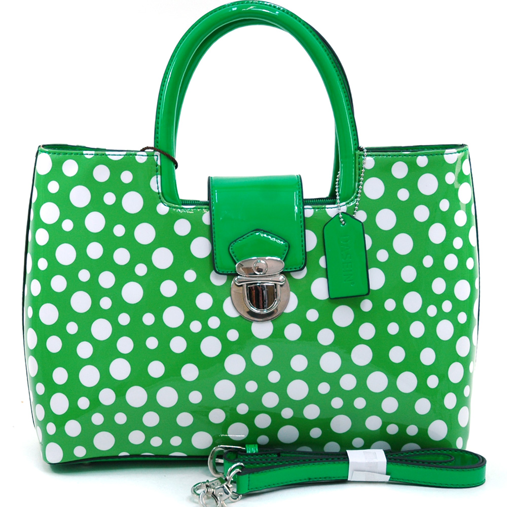 Women's Petite Glossy Polka Dot Fashion Satchel w/ Bonus Shoulder Strap - /White