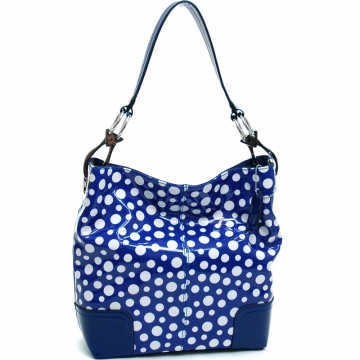 Women's Glossy Polka Dot Fashion Hobo Bag - Blue/White