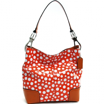 Women's Glossy Polka Dot Fashion Hobo Bag - Orange/White
