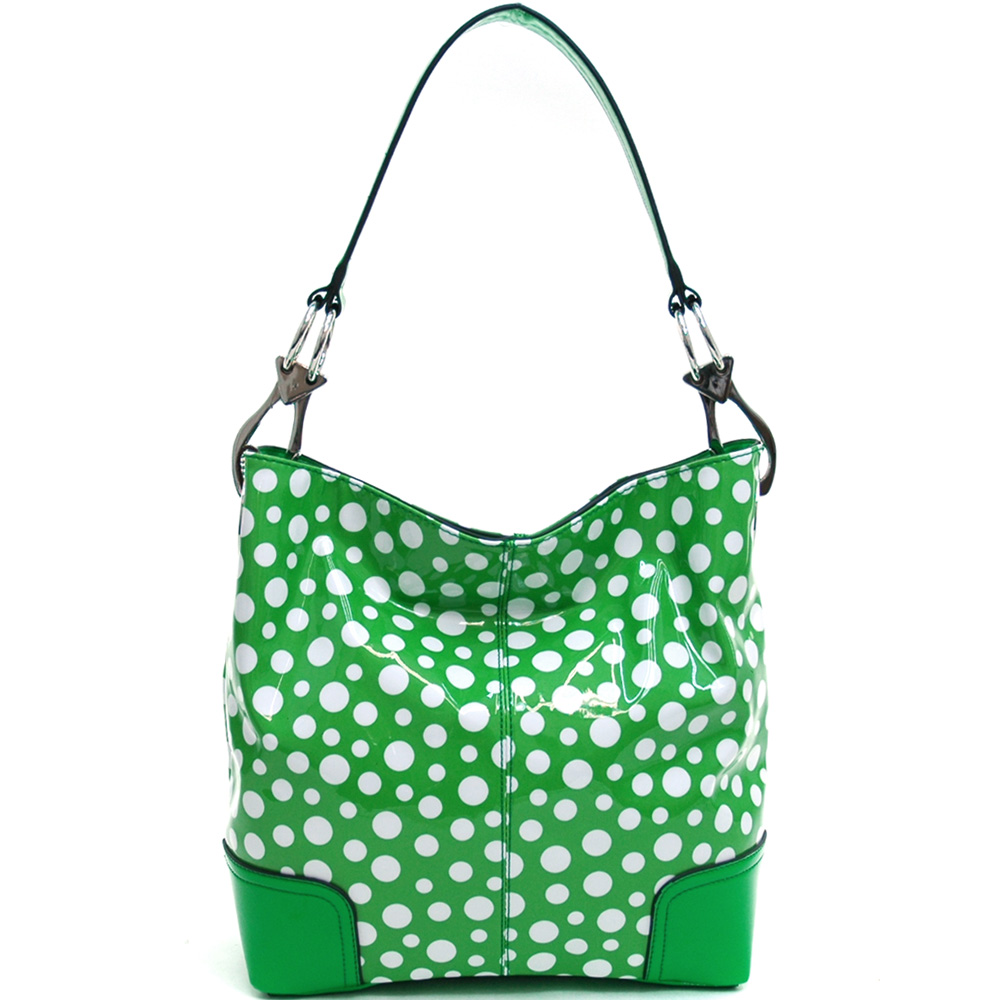 Dasein white/green polka dot hobo bag