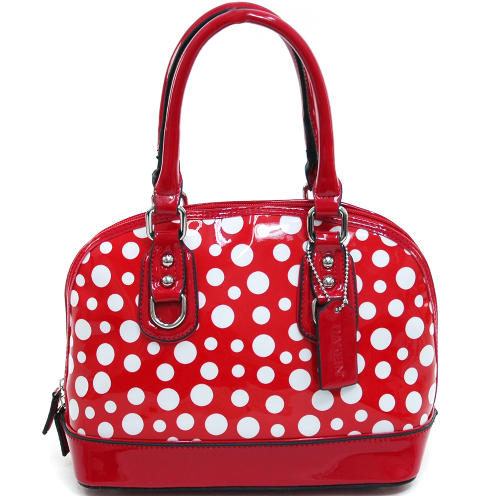 Women's Petite Polka Dot Fashion Zip-Around Satchel w/ Bonus Strap - /White