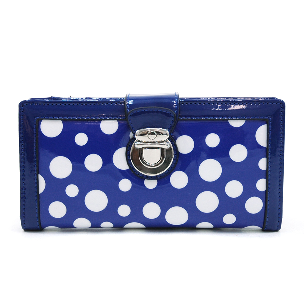 Women's Glossy Polka Dot Chic Bi-fold Checkbook Wallet w/ Buckle Accent - Blue/White