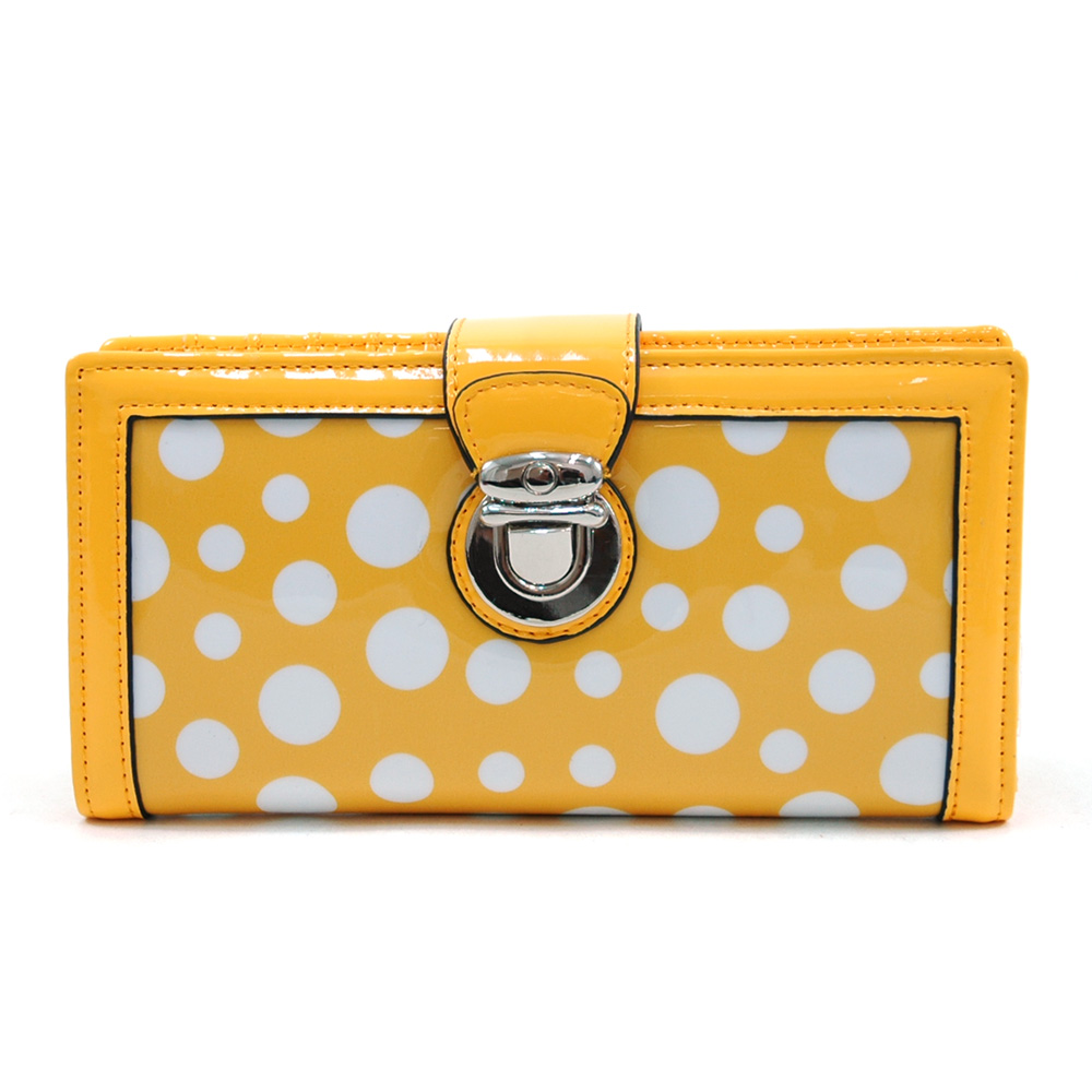 Women's Glossy Polka Dot Chic Bi-fold Checkbook Wallet w/ Buckle Accent - Yellow/White