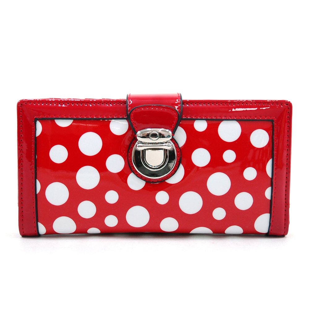 Women's Glossy Polka Dot Chic Bi-fold Checkbook Wallet w/ Buckle Accent - Red/White