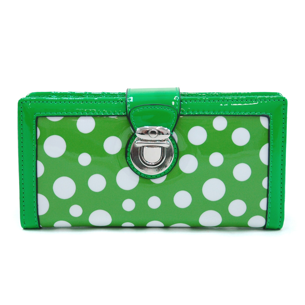 Women's Glossy Polka Dot Chic Bi-fold Checkbook Wallet w/ Buckle Accent - Green/White