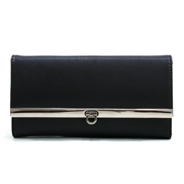Women's Classic Fine Faux Leather Tri-fold Checkbook Wallet - Black