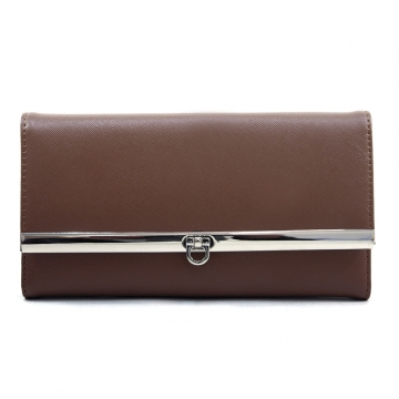 Women's Classic Fine Faux Leather Tri-fold Checkbook Wallet - Coffee