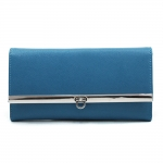 Women's Classic Fine Faux Leather Tri-fold Checkbook Wallet - Blue